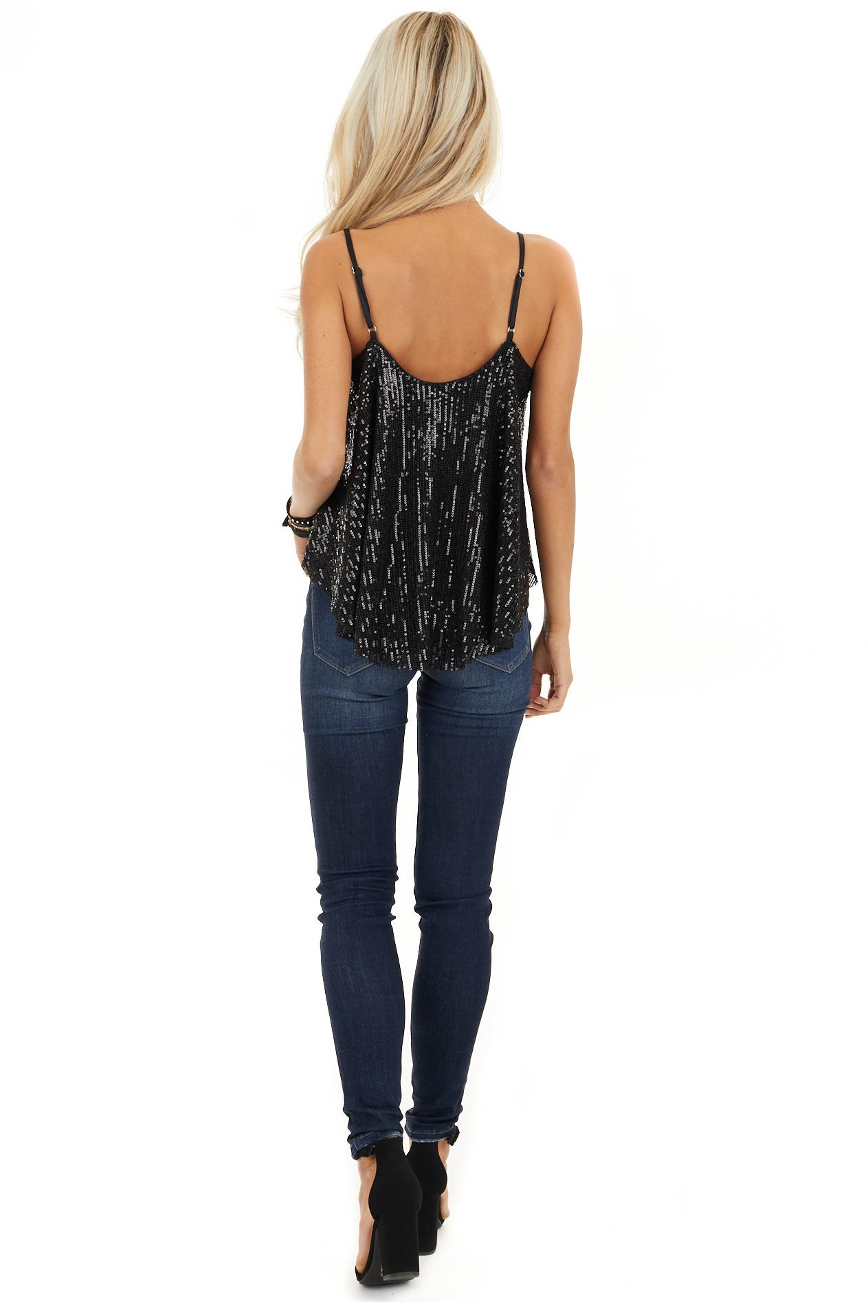 Black Sequin Cami Top with Adjustable Spaghetti Straps back full body