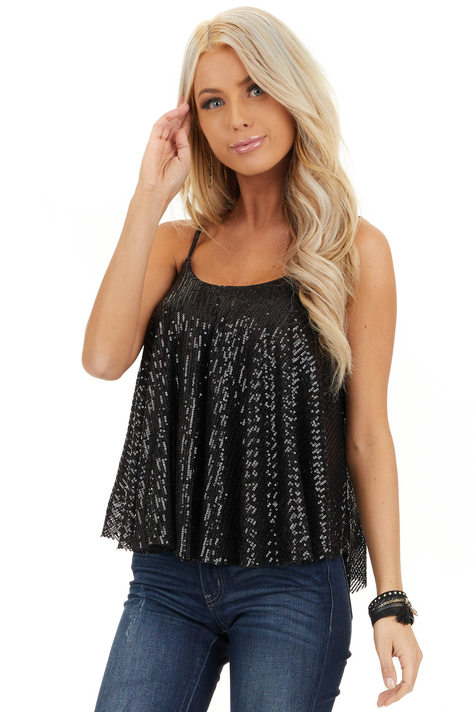 Black Sequin Cami Top with Adjustable Spaghetti Straps front close up