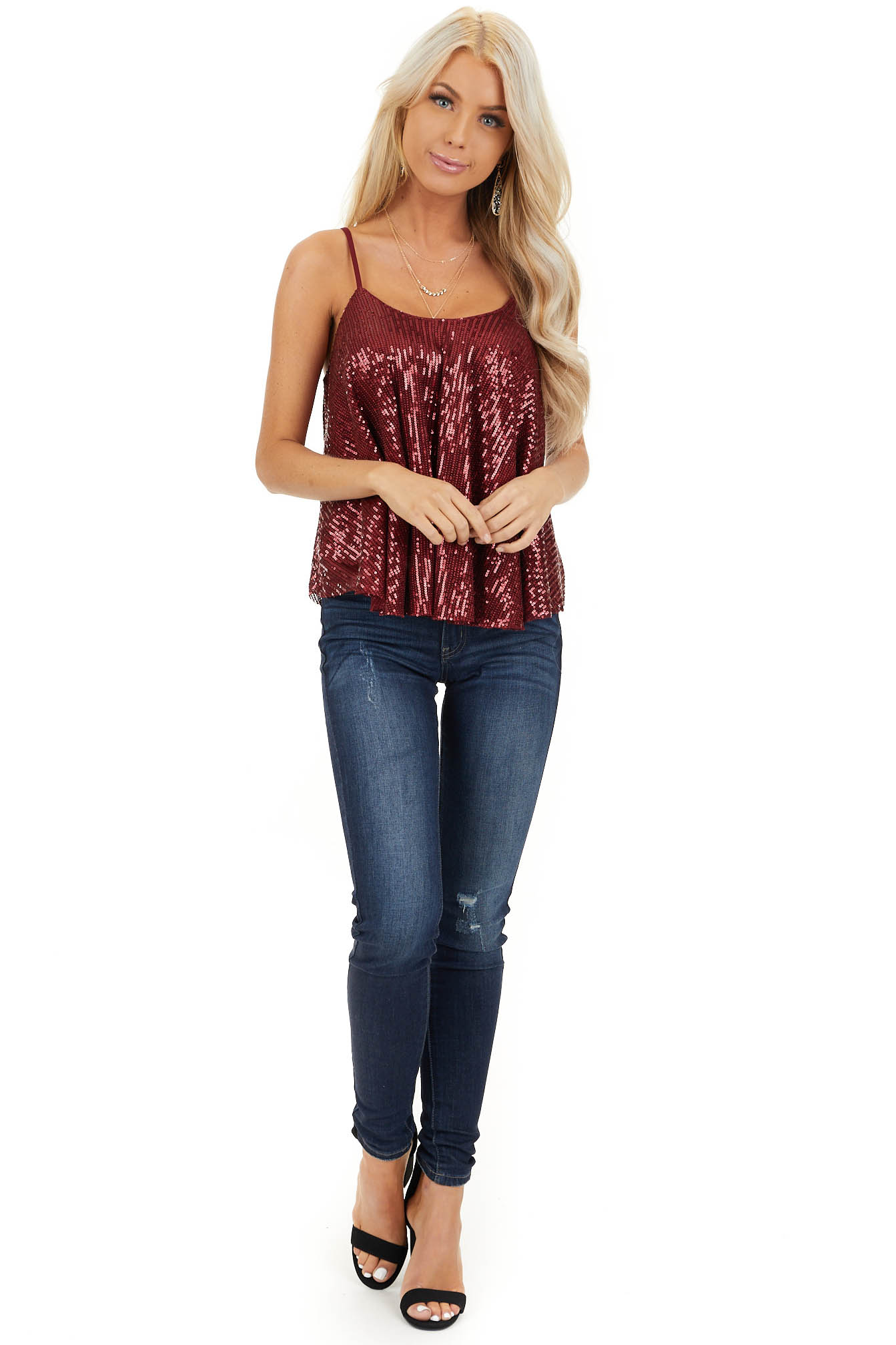 Cranberry Sequin Cami Top with Adjustable Spaghetti Straps front full body