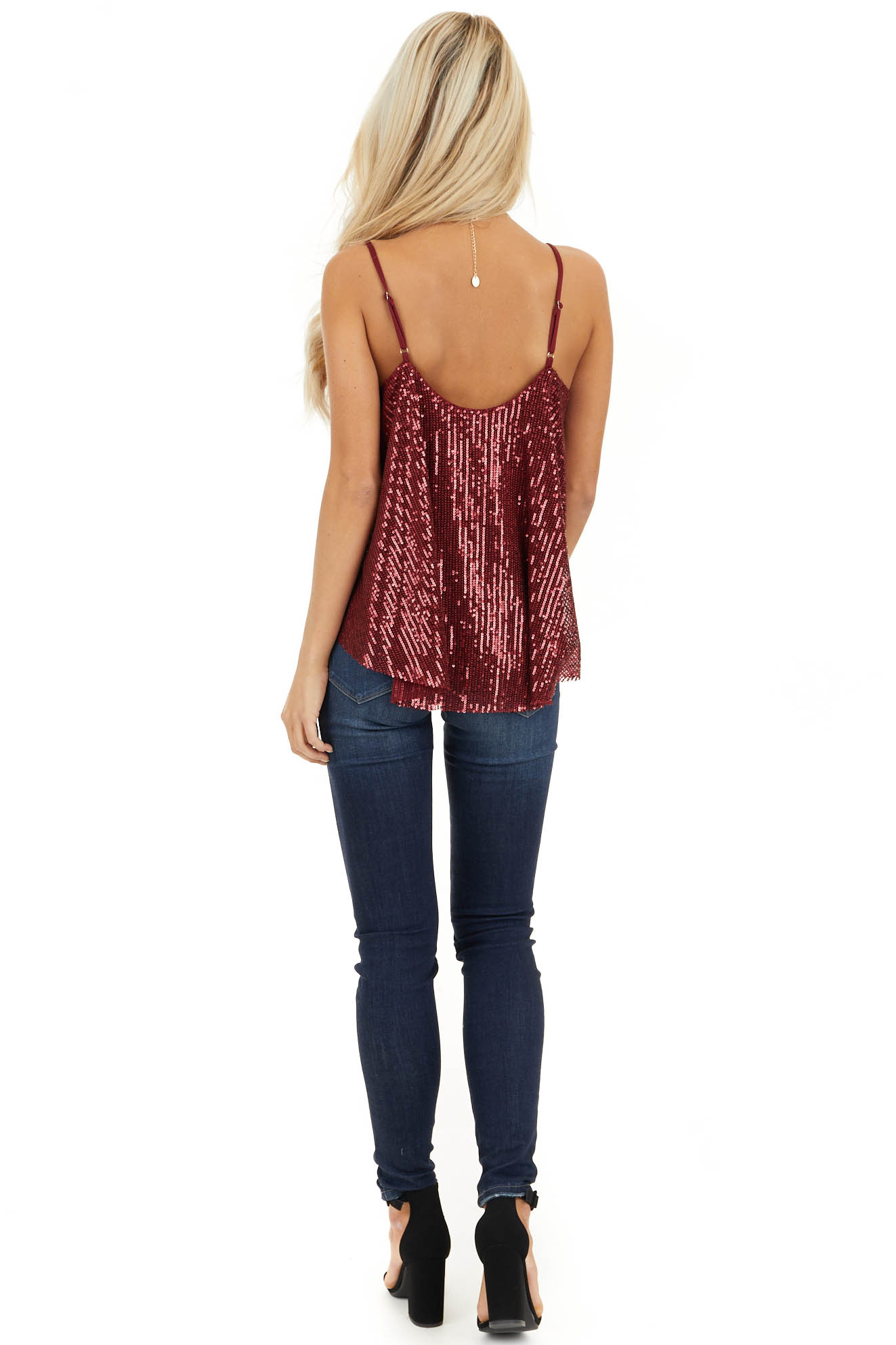 Cranberry Sequin Cami Top with Adjustable Spaghetti Straps back full body