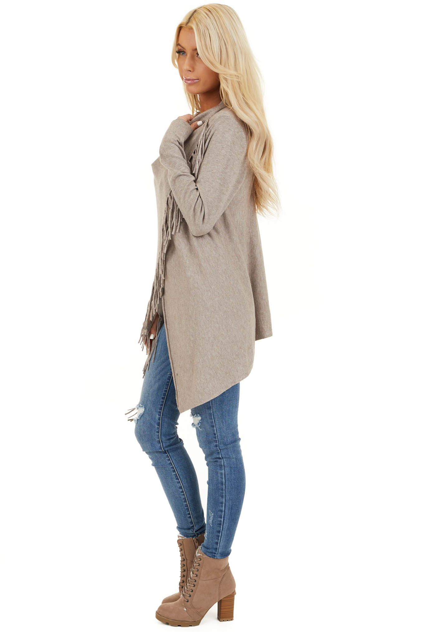 Oatmeal Cowl Neck Knit Poncho with Tassel Details side full body