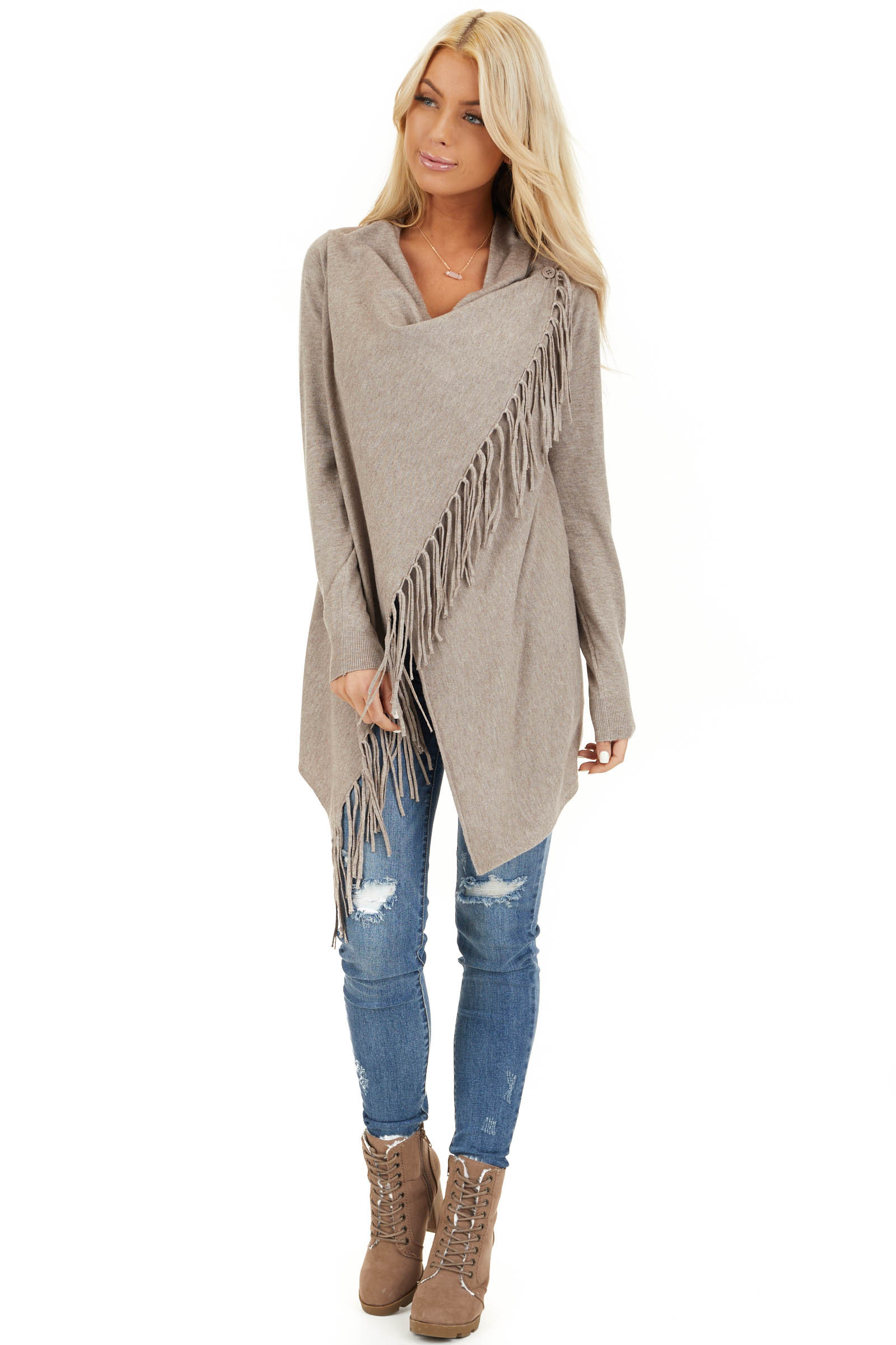 Oatmeal Cowl Neck Knit Poncho with Tassel Details front full body