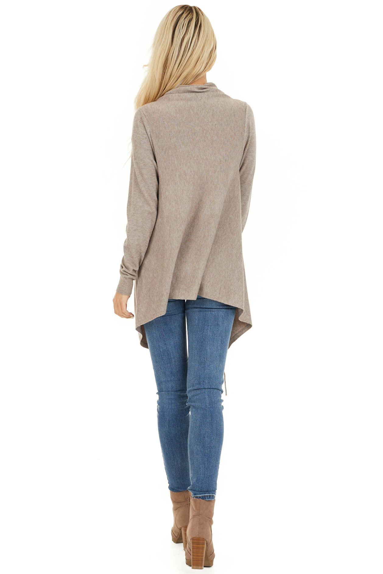 Oatmeal Cowl Neck Knit Poncho with Tassel Details back full body