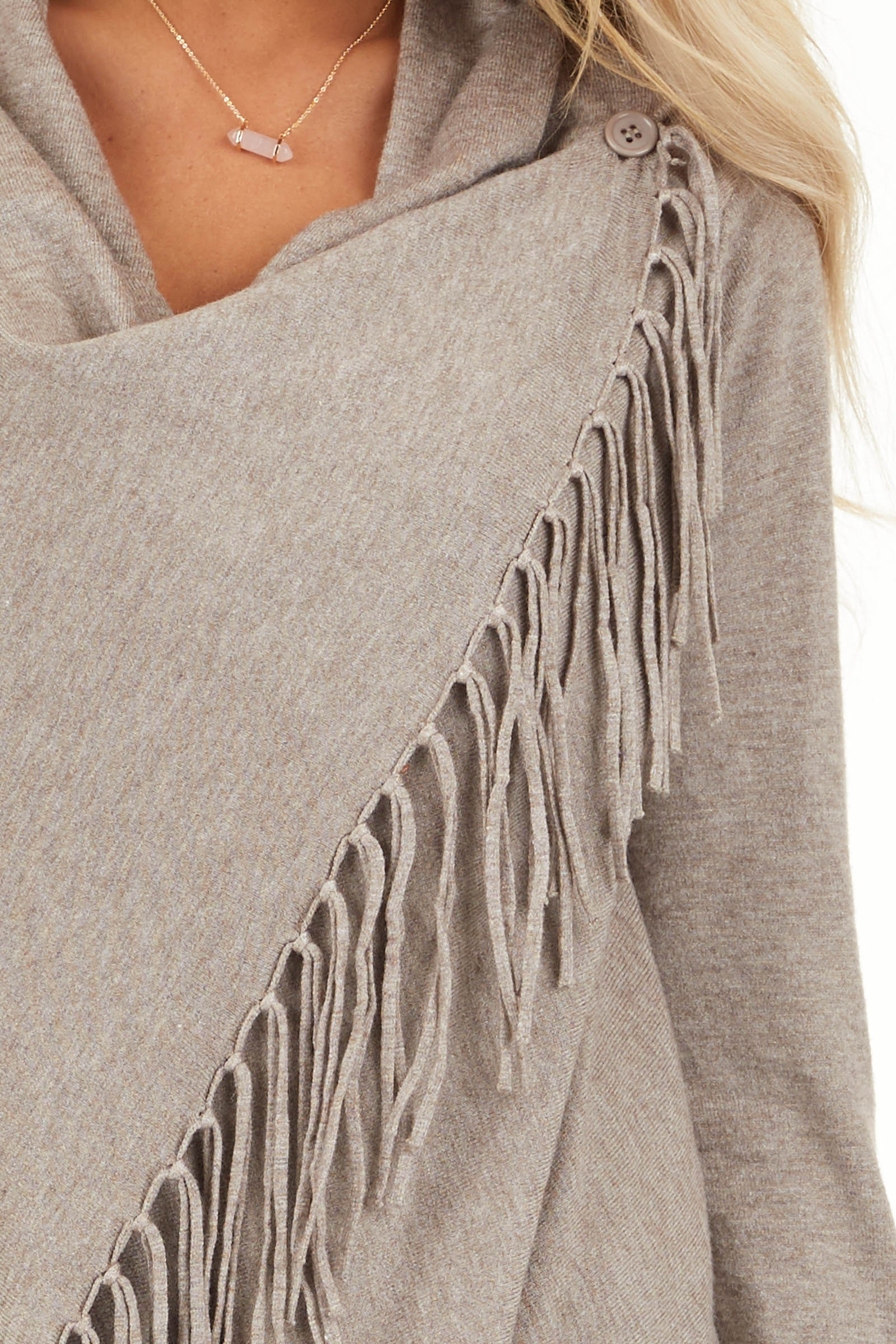 Oatmeal Cowl Neck Knit Poncho with Tassel Details detail