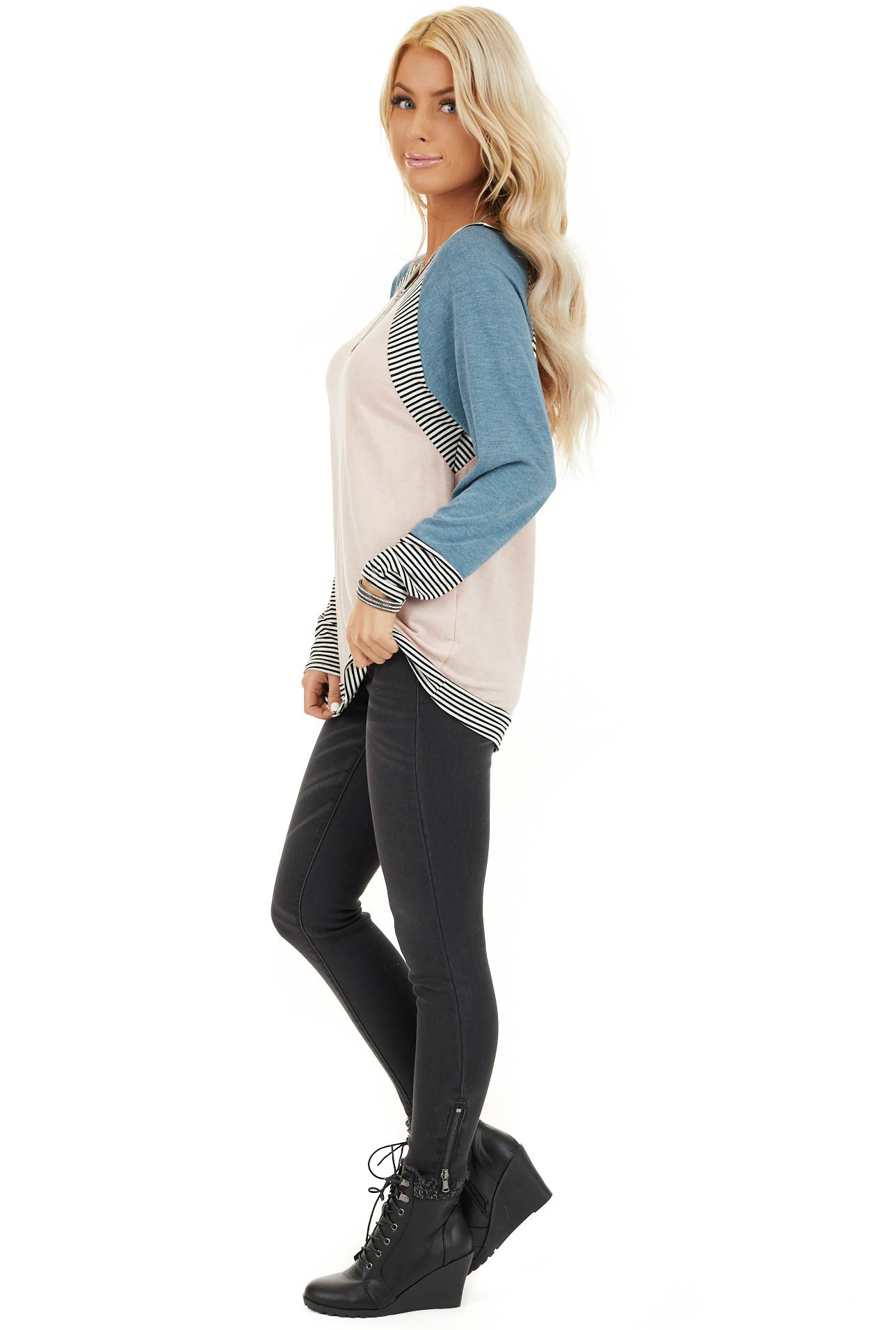 Blush and Teal Long Sleeve Top with Striped Contrast side full body