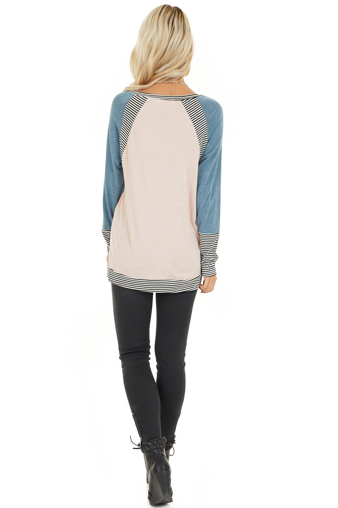 Blush and Teal Long Sleeve Top with Striped Contrast back full body