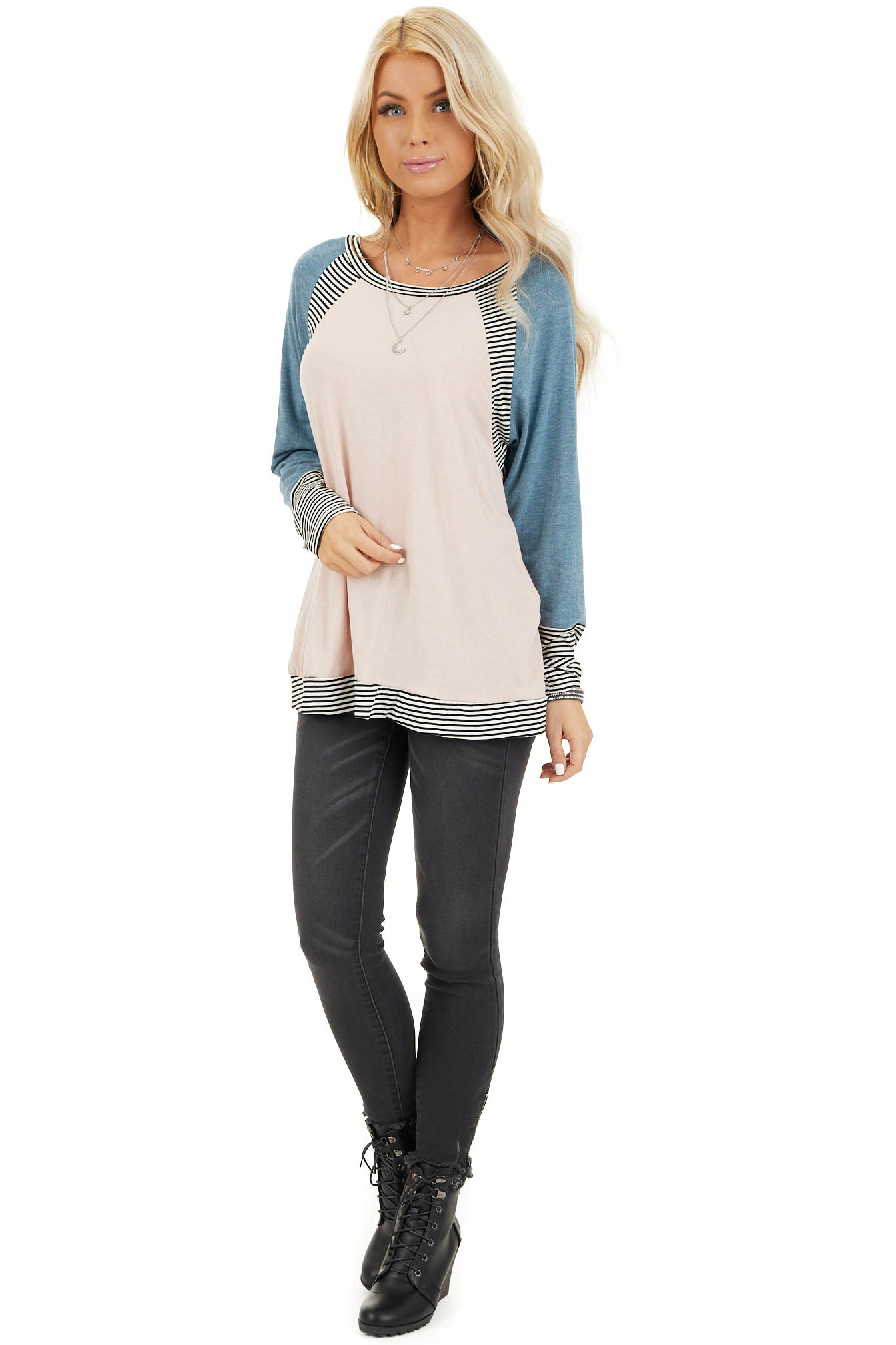Blush and Teal Long Sleeve Top with Striped Contrast front full body