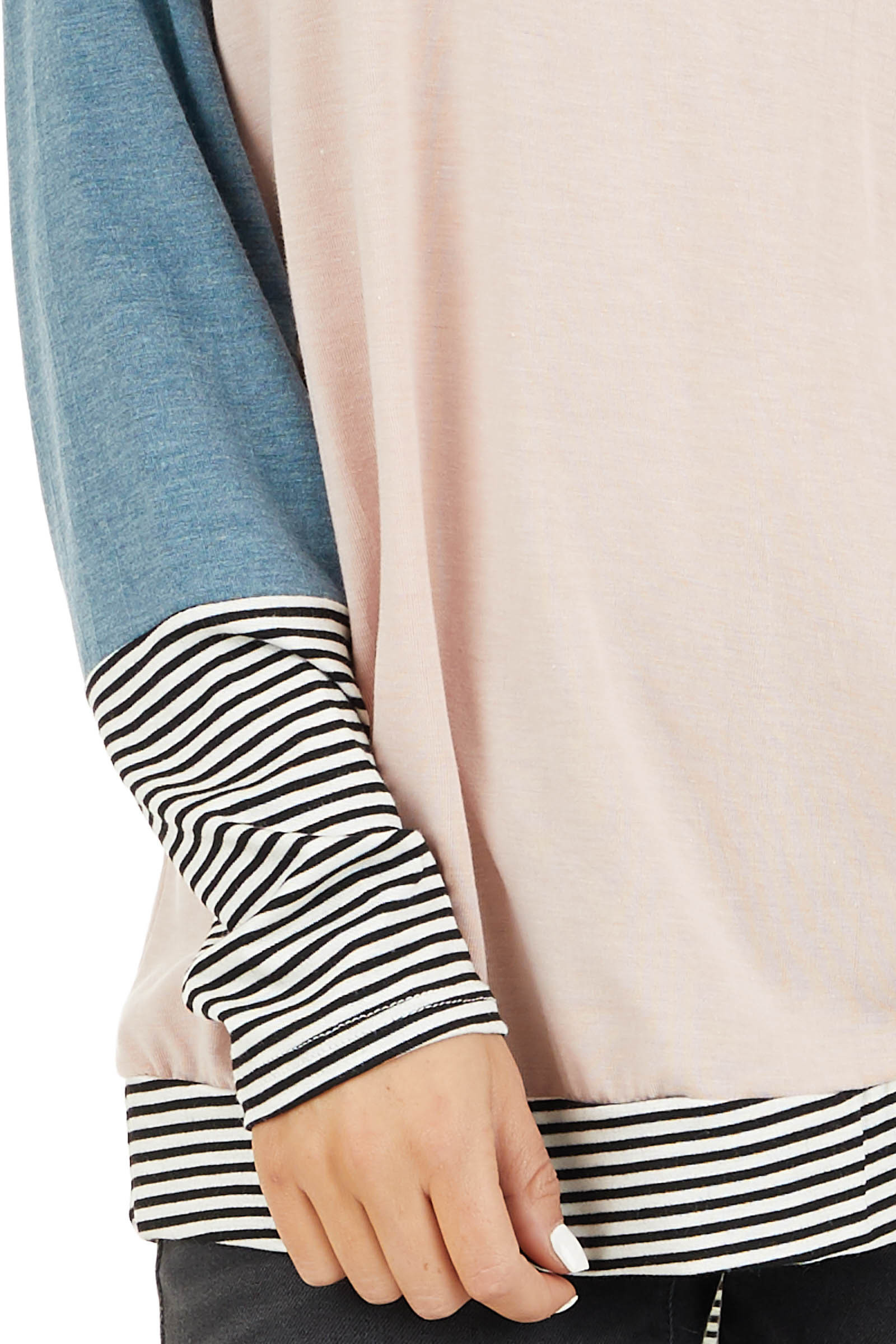 Blush and Teal Long Sleeve Top with Striped Contrast detail