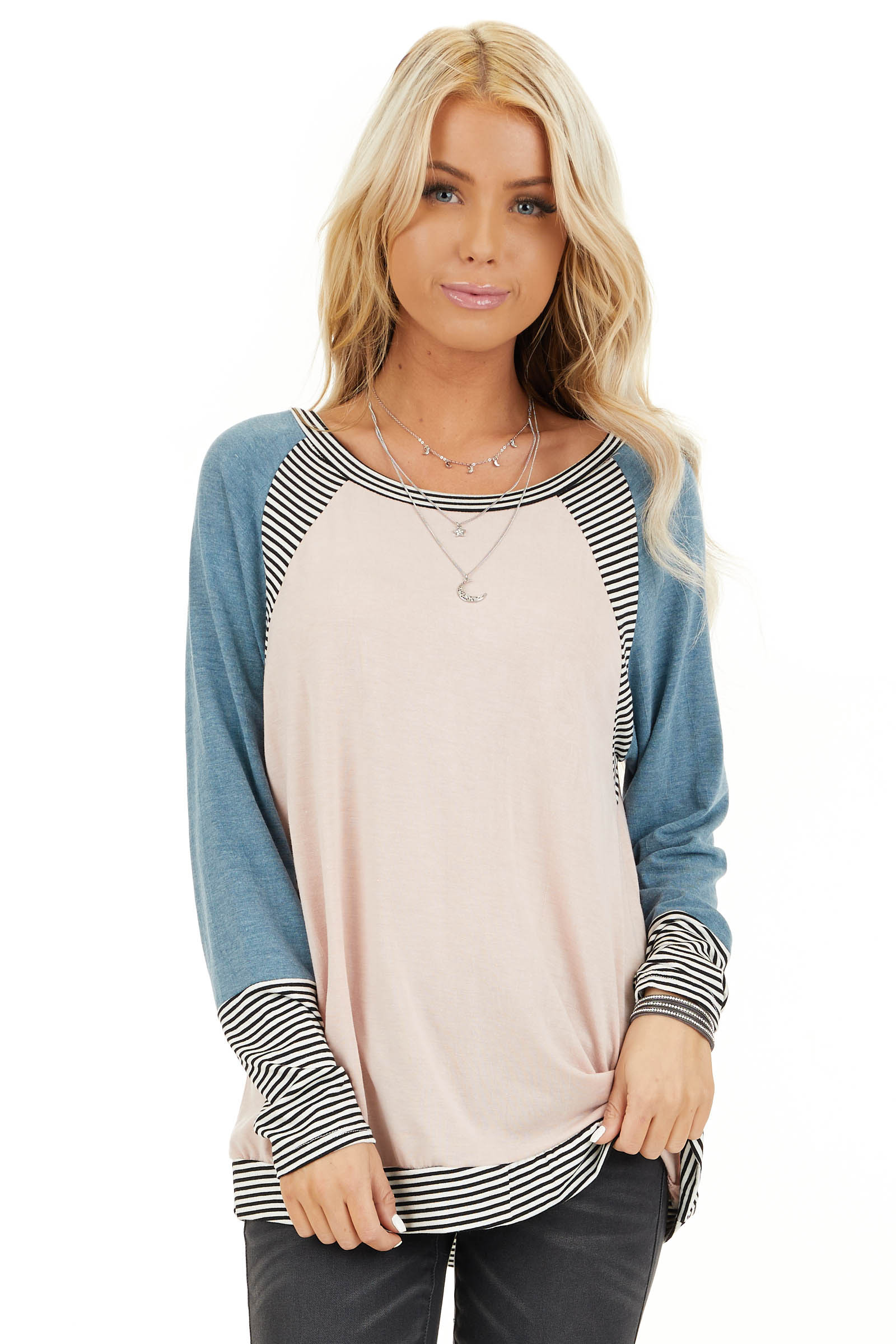 Blush and Teal Long Sleeve Top with Striped Contrast front close up