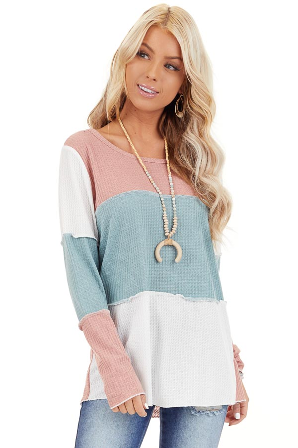 Dusty Blush and Aqua Color Block Long Sleeve Top front close up