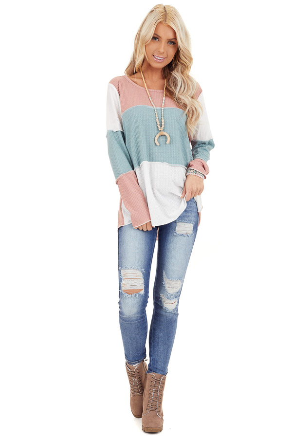 Dusty Blush and Aqua Color Block Long Sleeve Top front full body