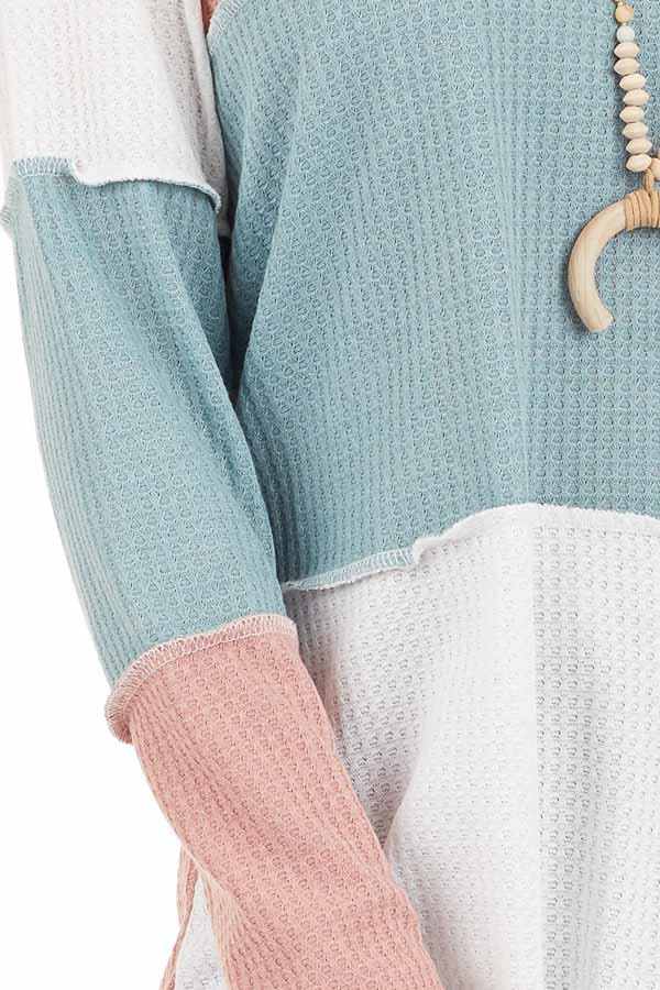 Dusty Blush and Aqua Color Block Long Sleeve Top detail