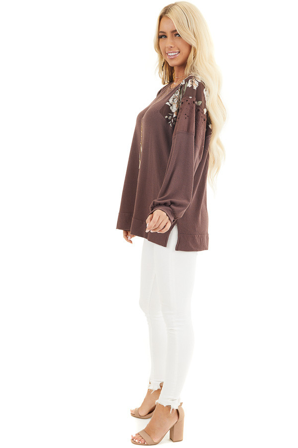 Chocolate Long Sleeve Top with Floral Contrast Details side full body