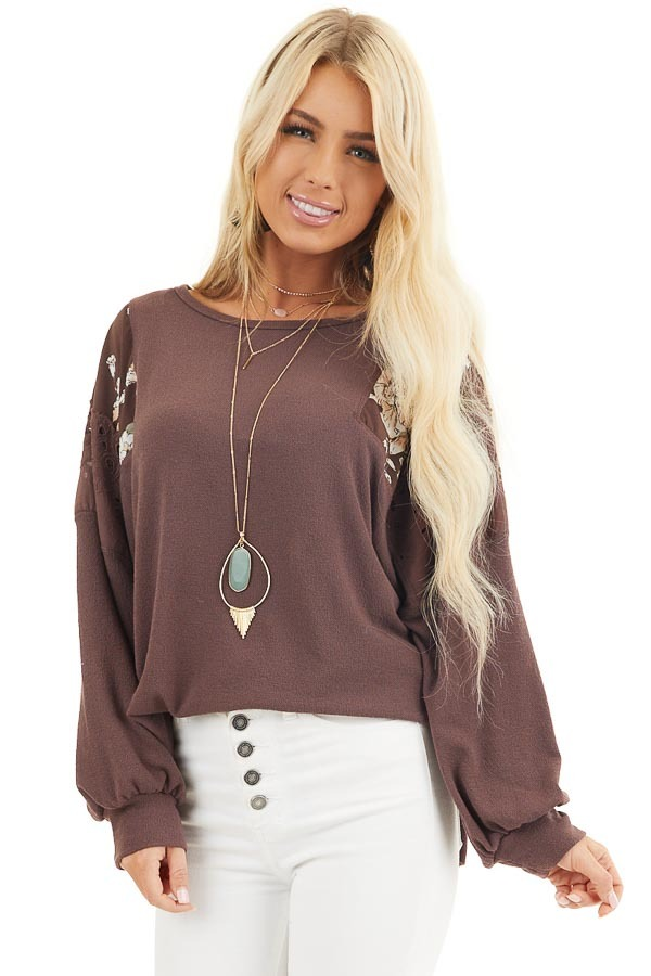 Chocolate Long Sleeve Top with Floral Contrast Details front close up