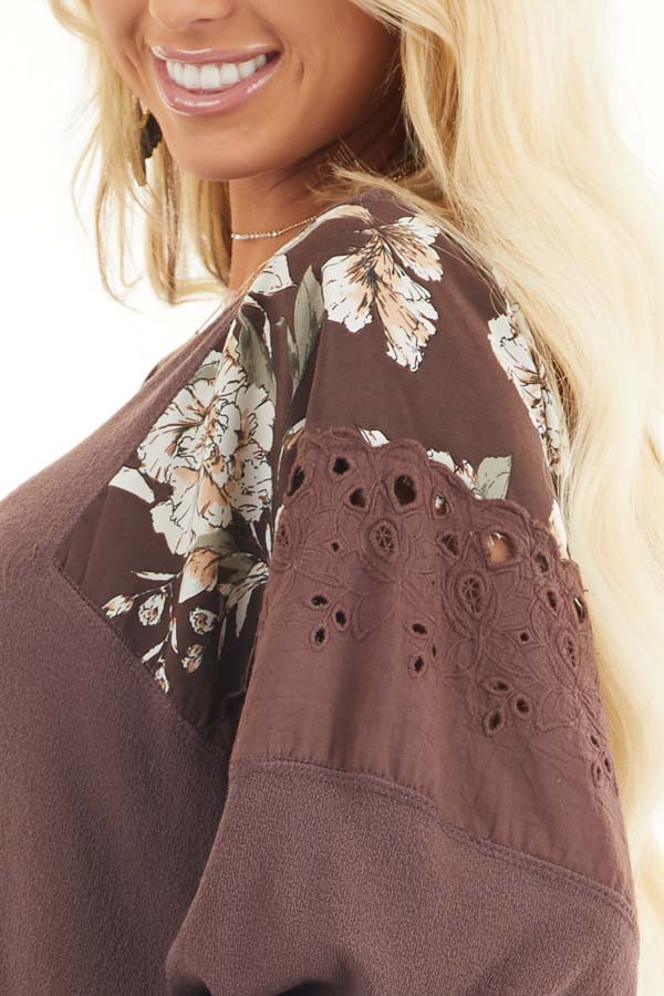 Chocolate Long Sleeve Top with Floral Contrast Details detail