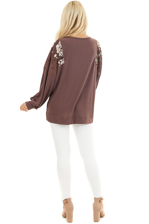 Chocolate Long Sleeve Top with Floral Contrast Details back full body