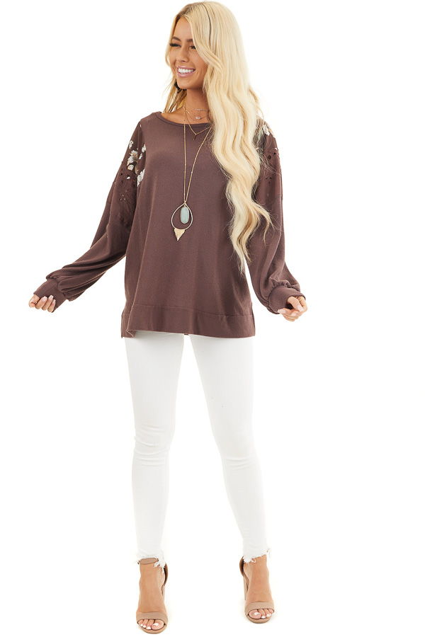 Chocolate Long Sleeve Top with Floral Contrast Details front full body