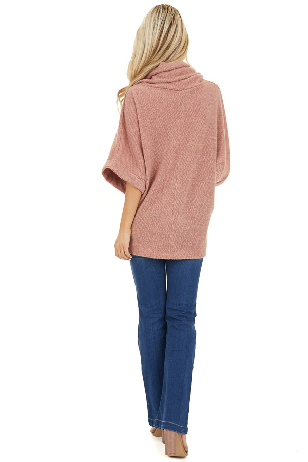 Dusty Pink Cowl Neck Top with 3/4 Length Dolman Sleeves back full body