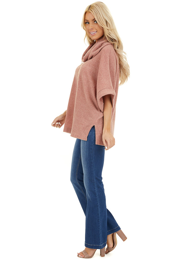 Dusty Pink Cowl Neck Top with 3/4 Length Dolman Sleeves side full body