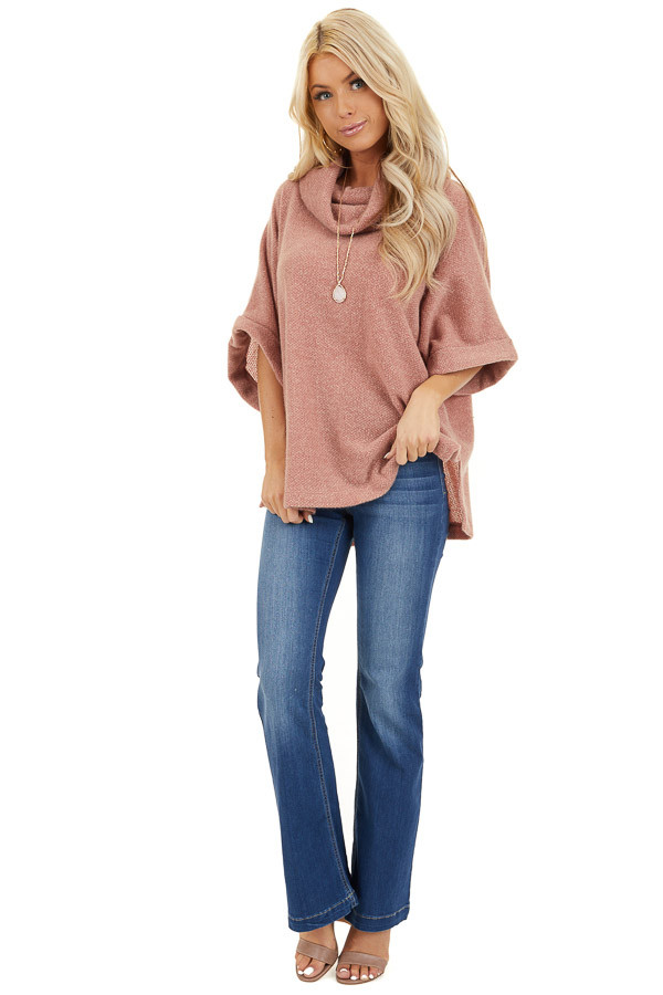 Dusty Pink Cowl Neck Top with 3/4 Length Dolman Sleeves front full body