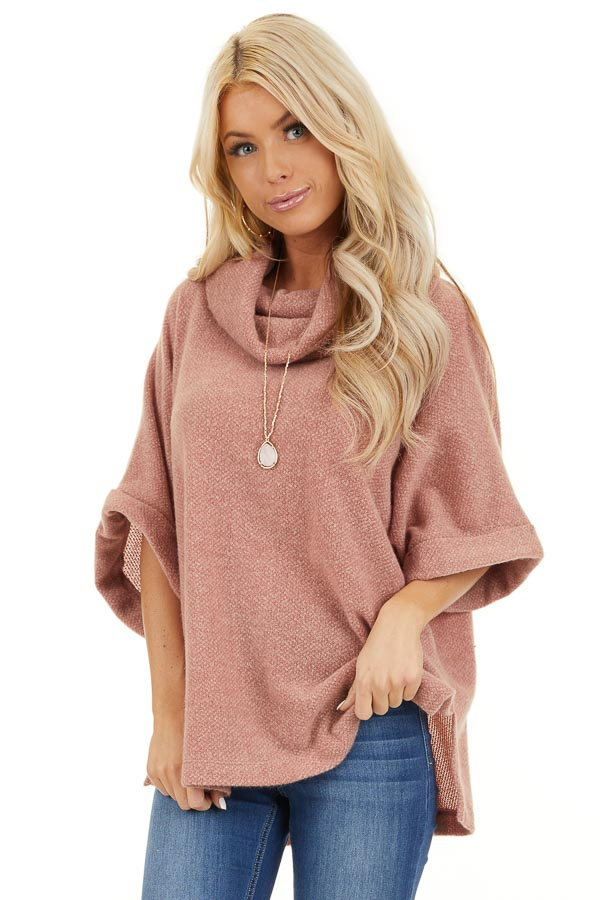 Dusty Pink Cowl Neck Top with 3/4 Length Dolman Sleeves front close up