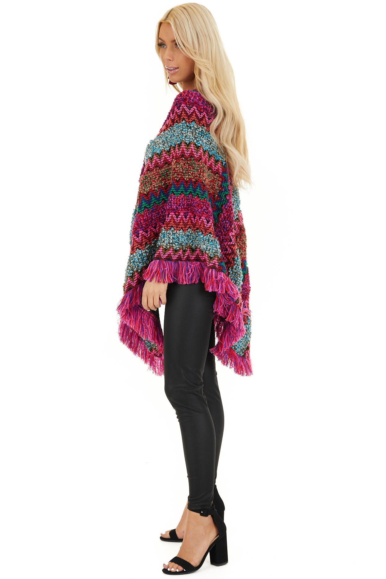 Multi Color Boho Style Poncho Top with Fringed Hemline side full body