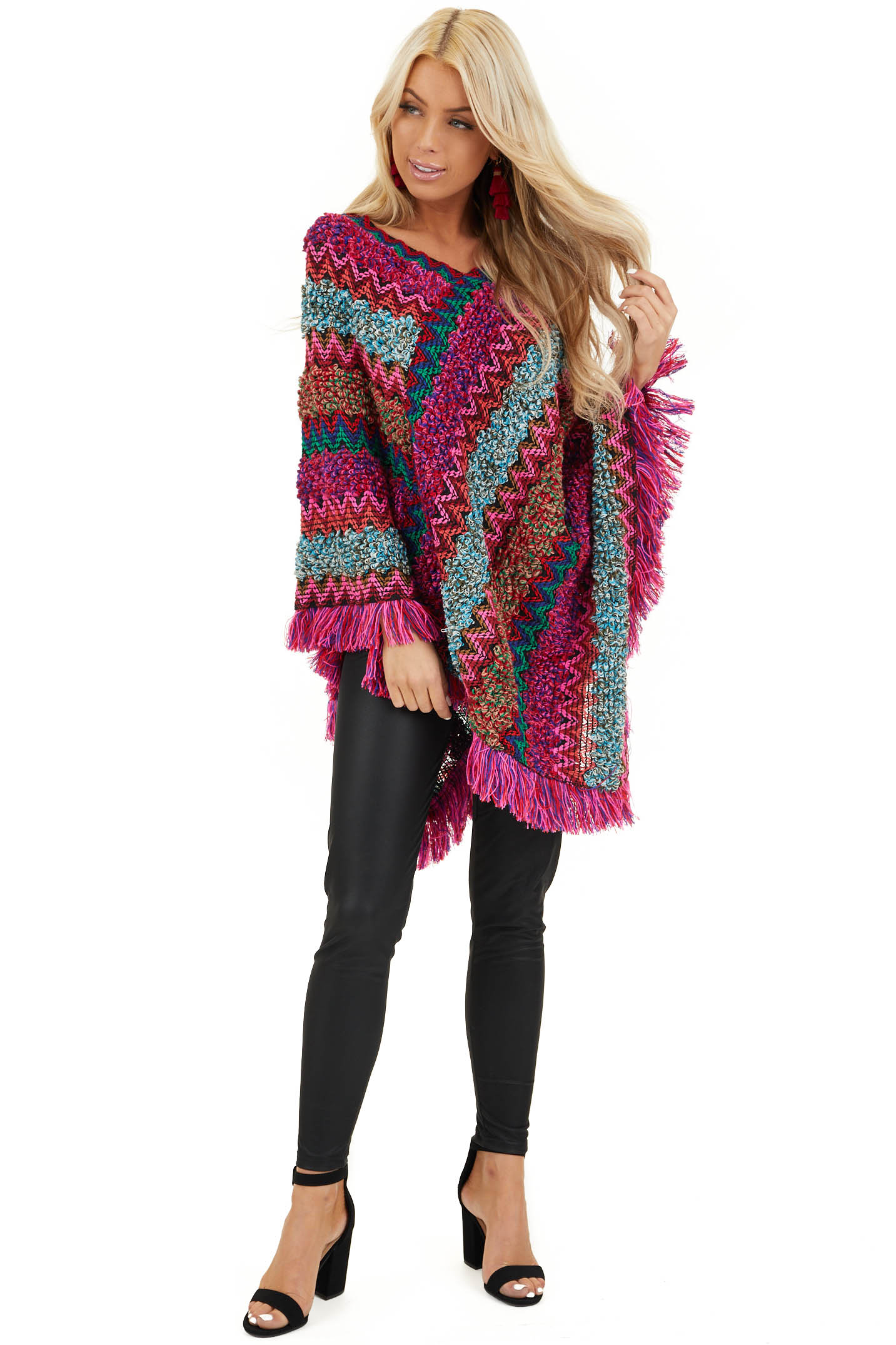 Multi Color Boho Style Poncho Top with Fringed Hemline front full body