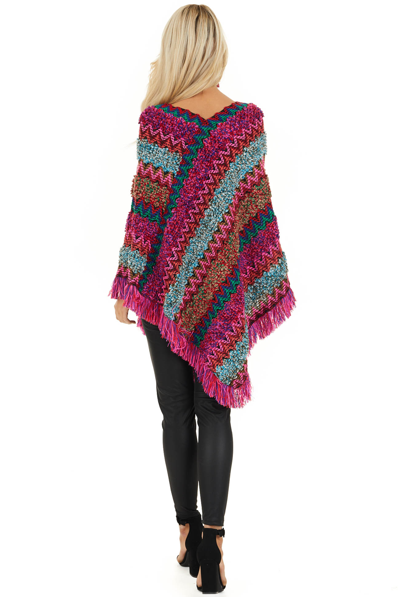 Multi Color Boho Style Poncho Top with Fringed Hemline back full body
