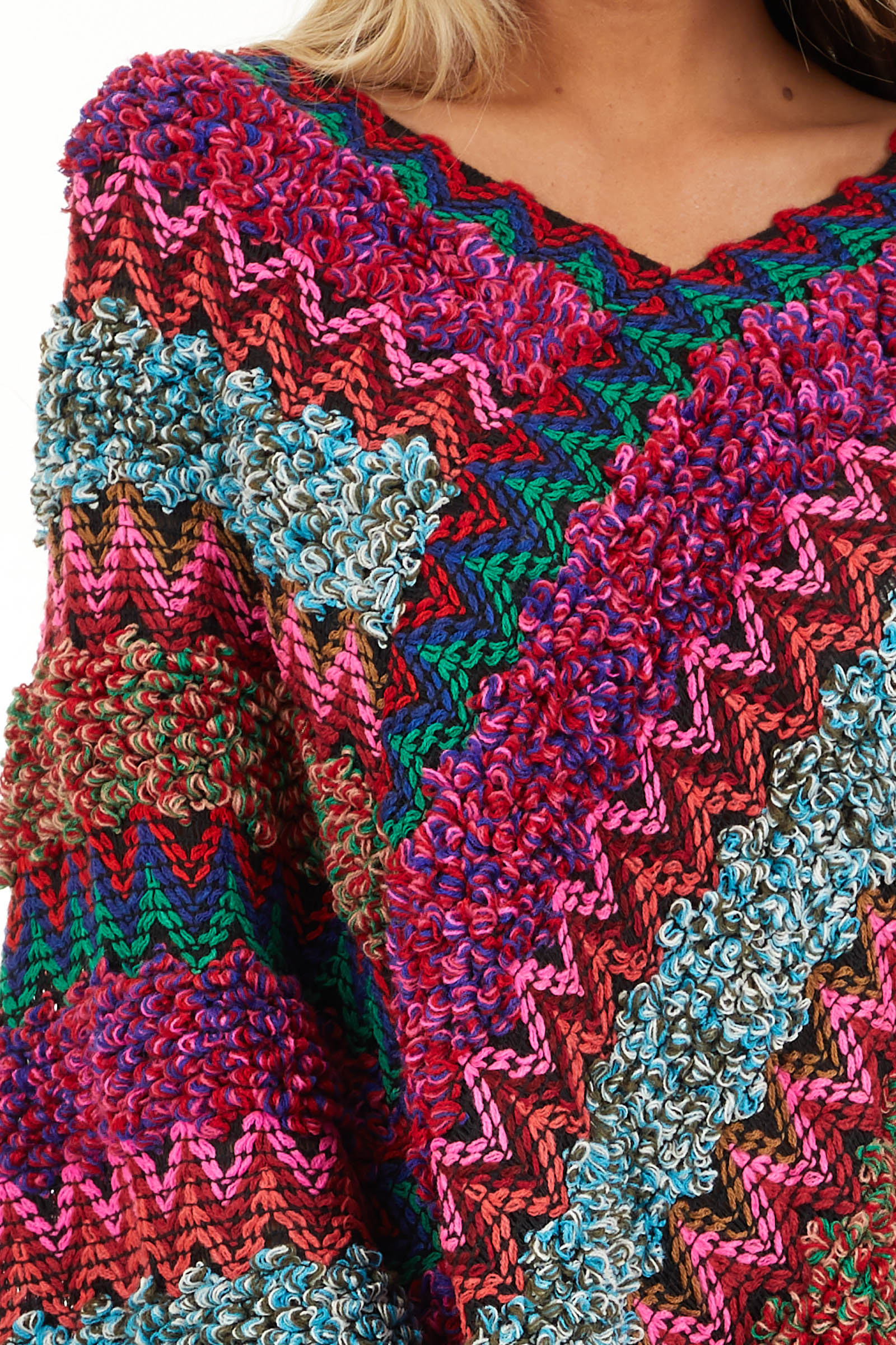 Multi Color Boho Style Poncho Top with Fringed Hemline detail