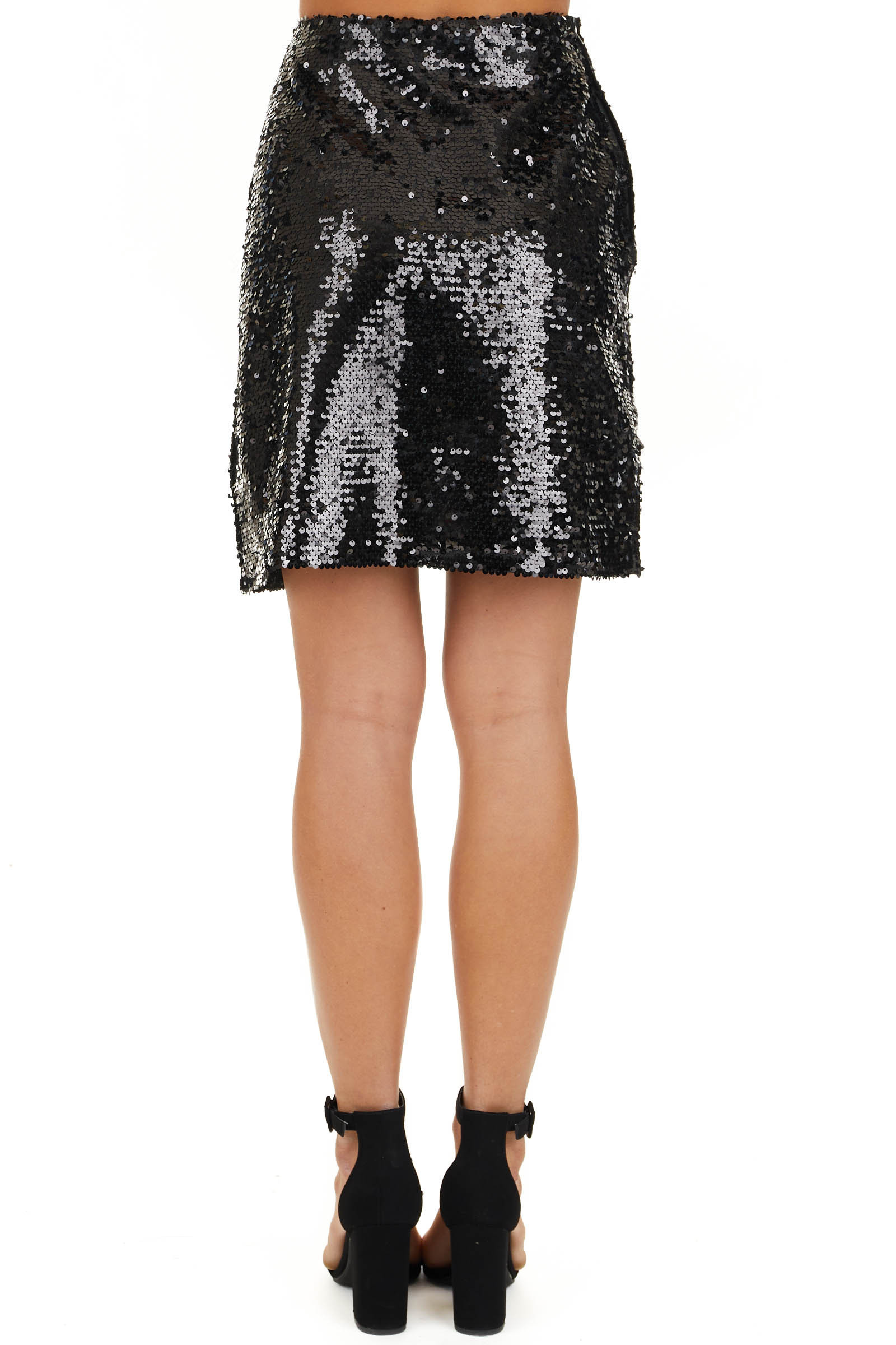 Black Sequined Mini Skirt with Side Zipper Closure back view