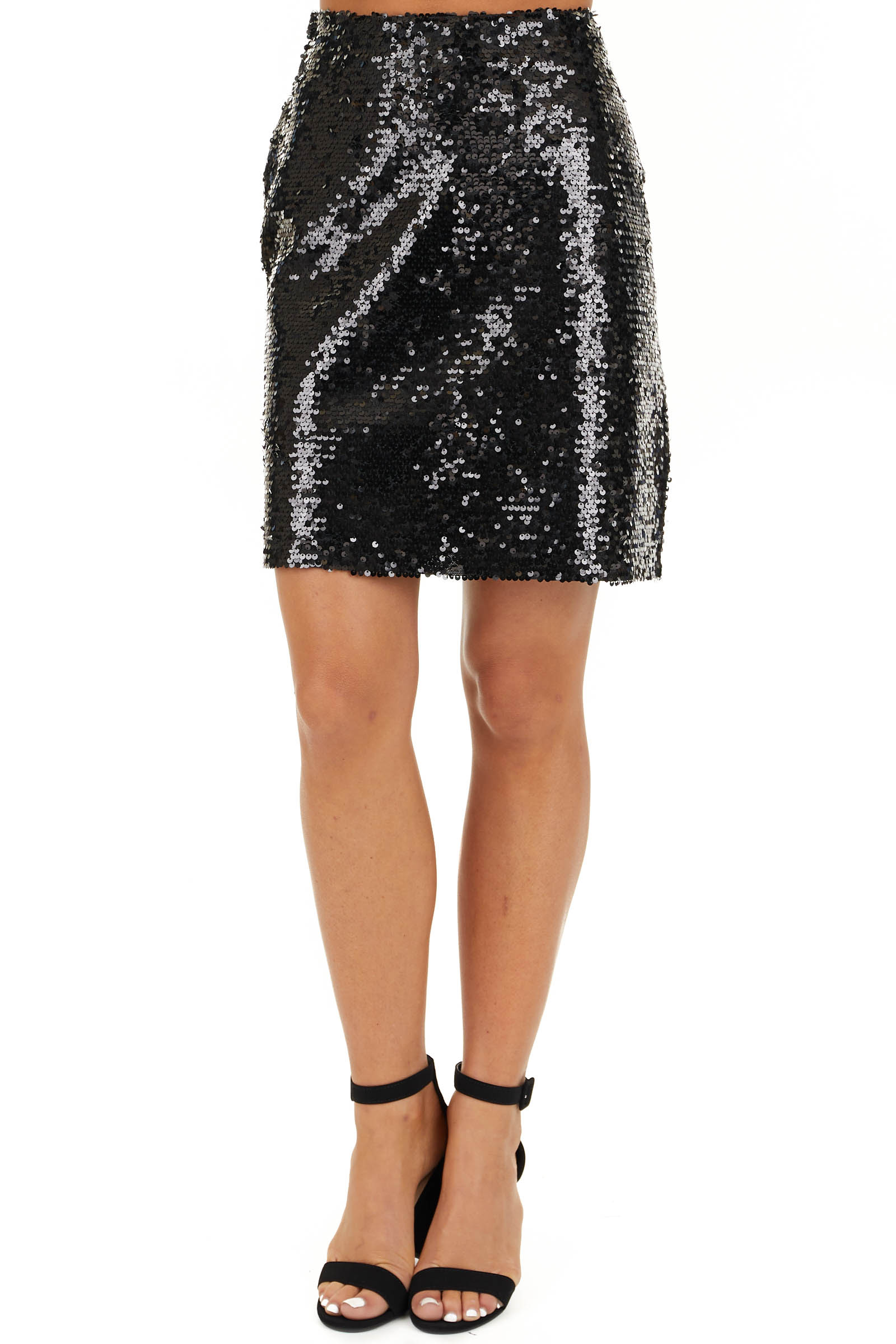 Black Sequined Mini Skirt with Side Zipper Closure front view
