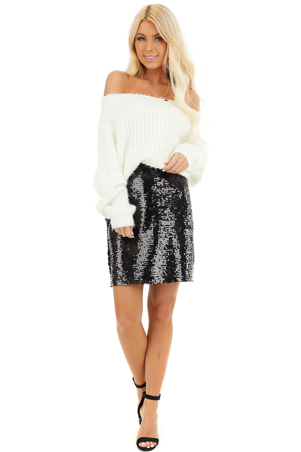 Black Sequined Mini Skirt with Side Zipper Closure front full body