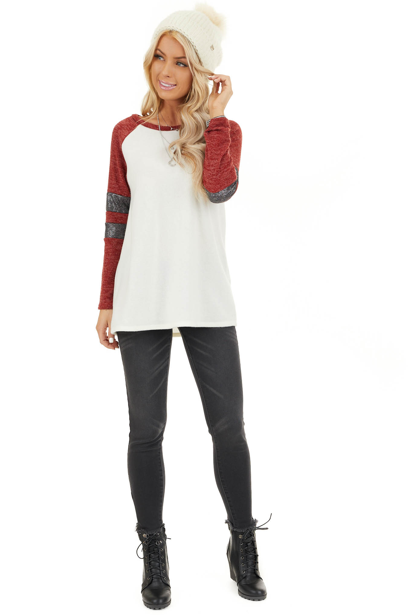 Ivory and Scarlet Long Sleeve Top with Striped Sleeve Detail front full body