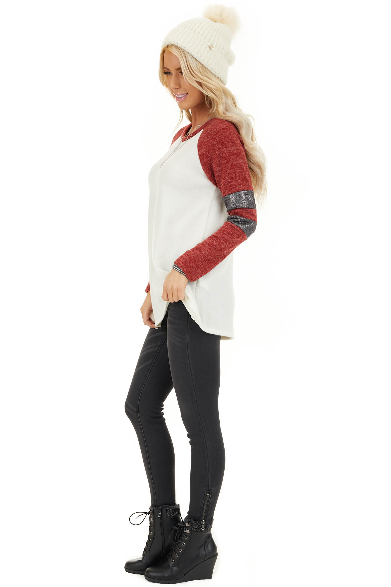 Ivory and Scarlet Long Sleeve Top with Striped Sleeve Detail side full body