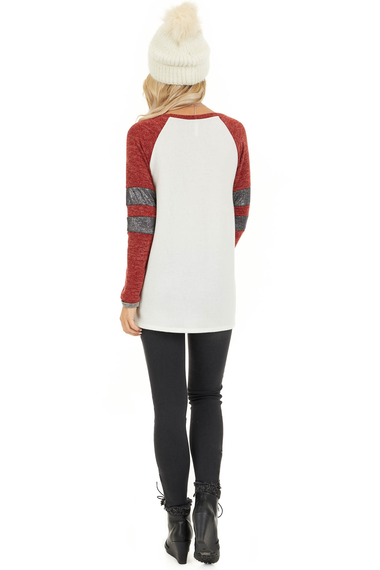 Ivory and Scarlet Long Sleeve Top with Striped Sleeve Detail back full body