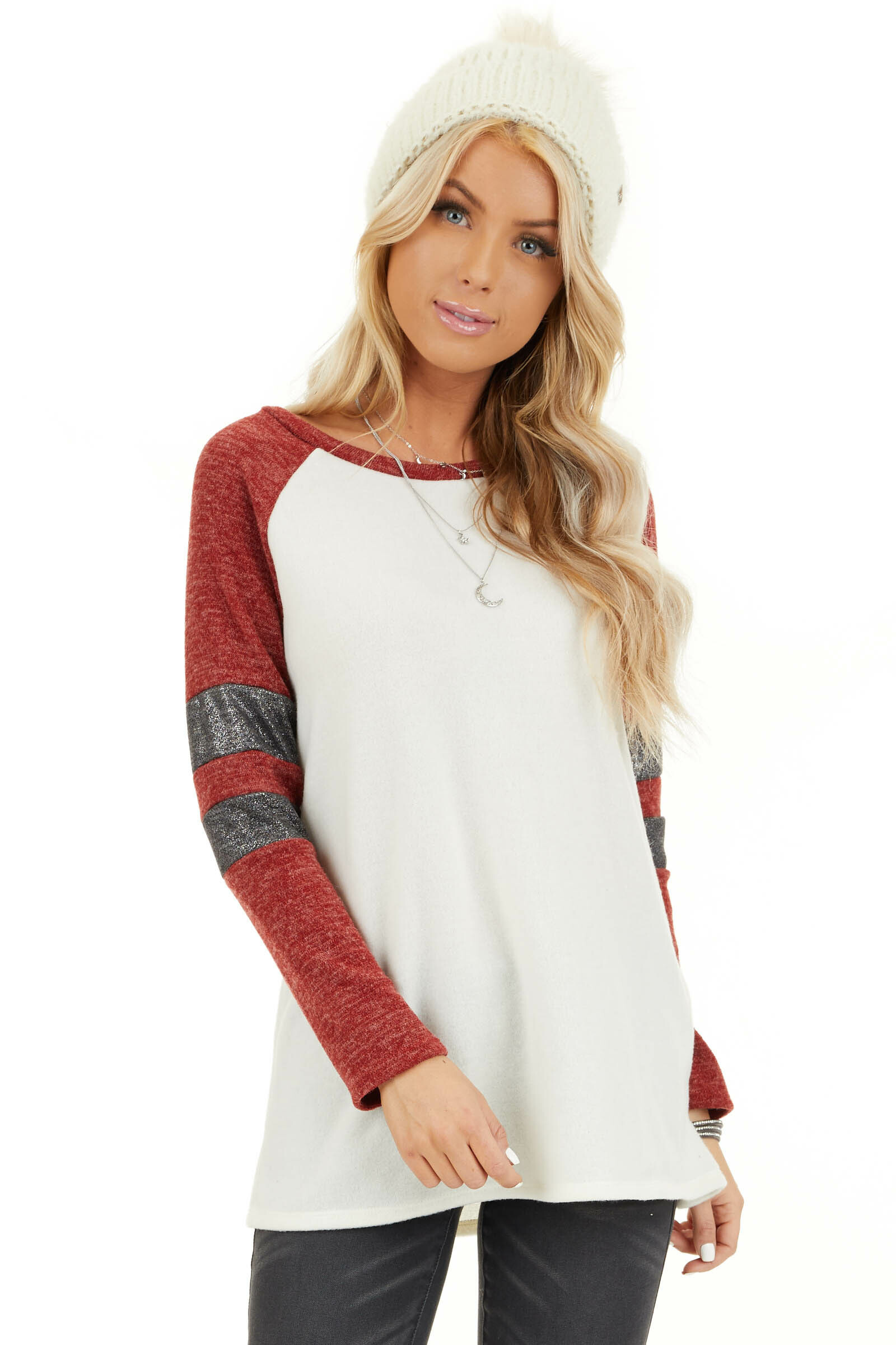 Ivory and Scarlet Long Sleeve Top with Striped Sleeve Detail front close up