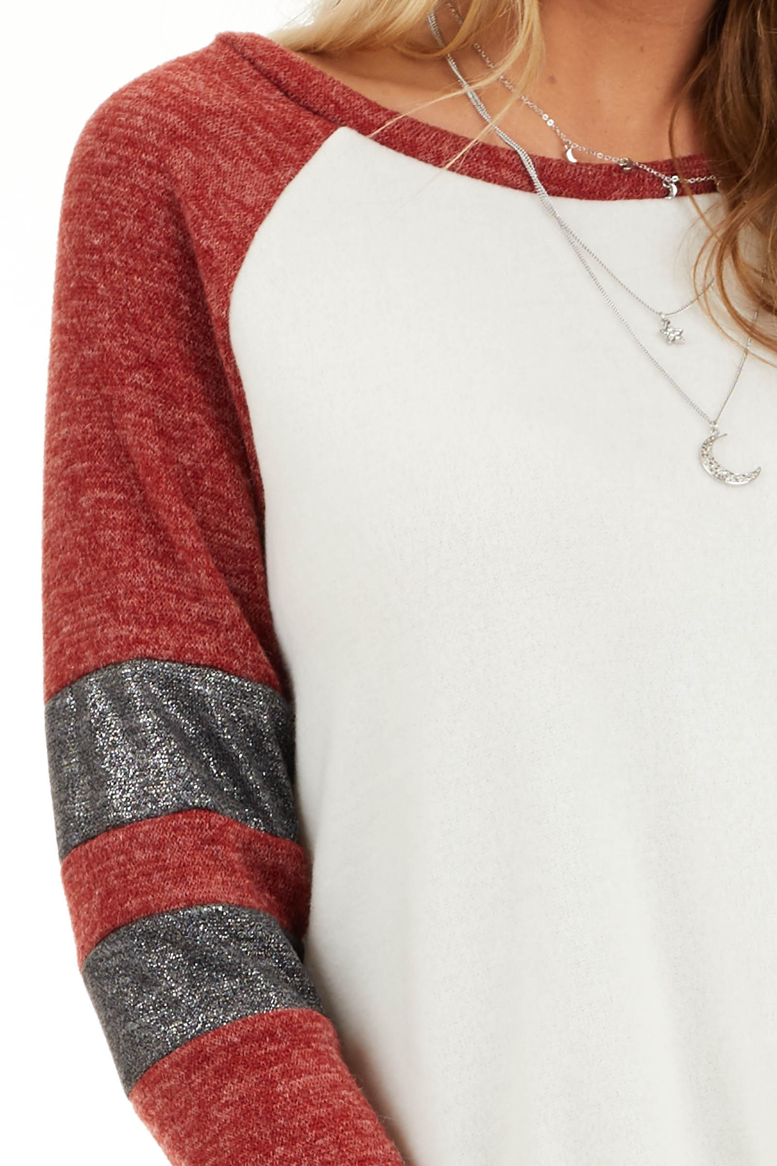 Ivory and Scarlet Long Sleeve Top with Striped Sleeve Detail detail