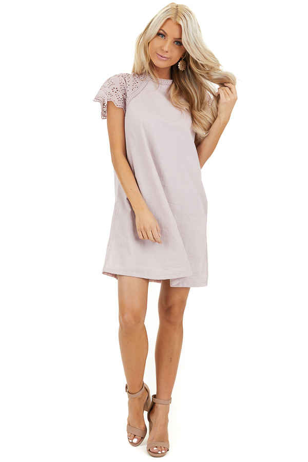 Lilac Tunic Dress with Embroidered Eyelet Lace Sleeves front full body