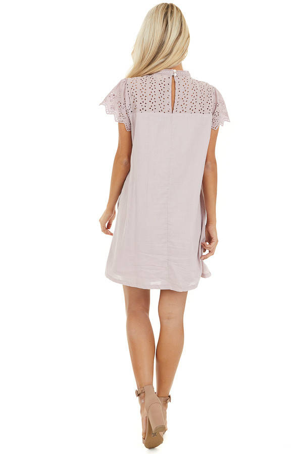 Lilac Tunic Dress with Embroidered Eyelet Lace Sleeves back full body