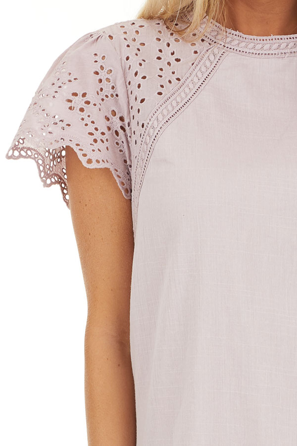 Lilac Tunic Dress with Embroidered Eyelet Lace Sleeves detail