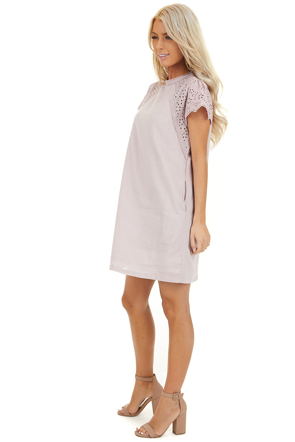 Lilac Tunic Dress with Embroidered Eyelet Lace Sleeves side full body