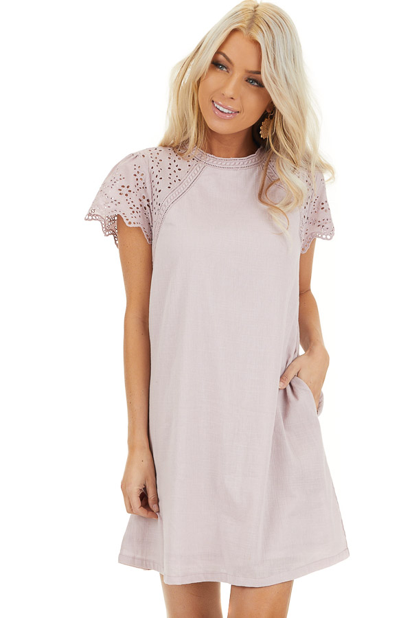 Lilac Tunic Dress with Embroidered Eyelet Lace Sleeves front close up