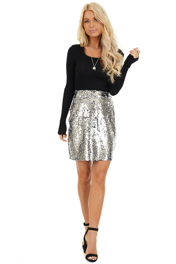 Silver Sequined Mini Skirt with Side Zipper Closure front full body