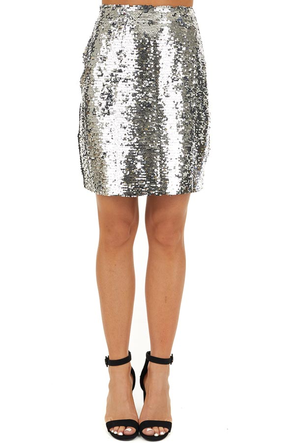 Silver Sequined Mini Skirt with Side Zipper Closure front view