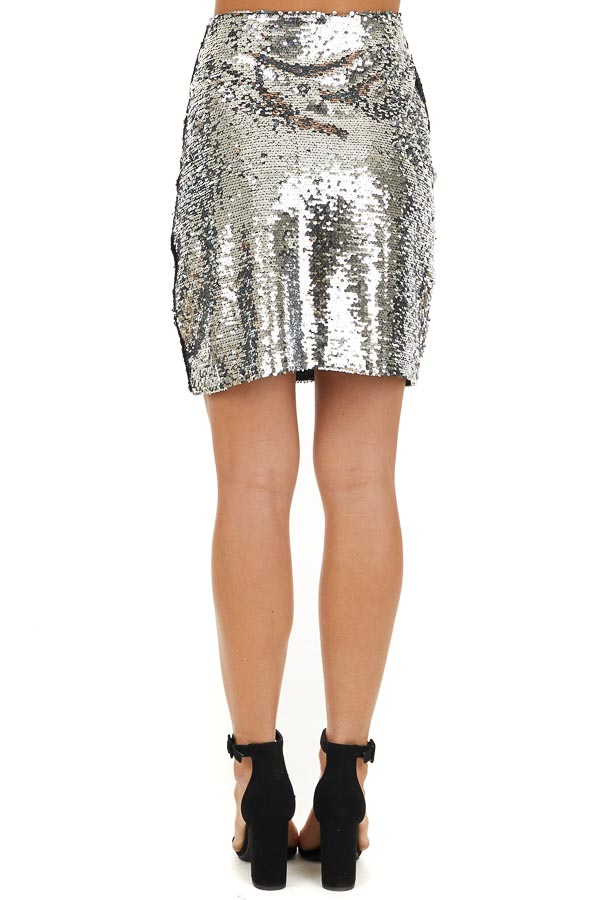 Silver Sequined Mini Skirt with Side Zipper Closure back view