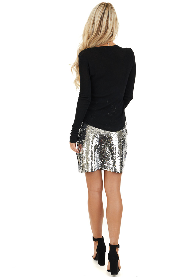 Silver Sequined Mini Skirt with Side Zipper Closure back full body