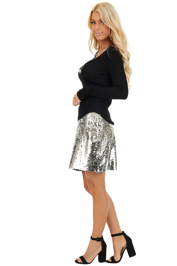 Silver Sequined Mini Skirt with Side Zipper Closure side full body