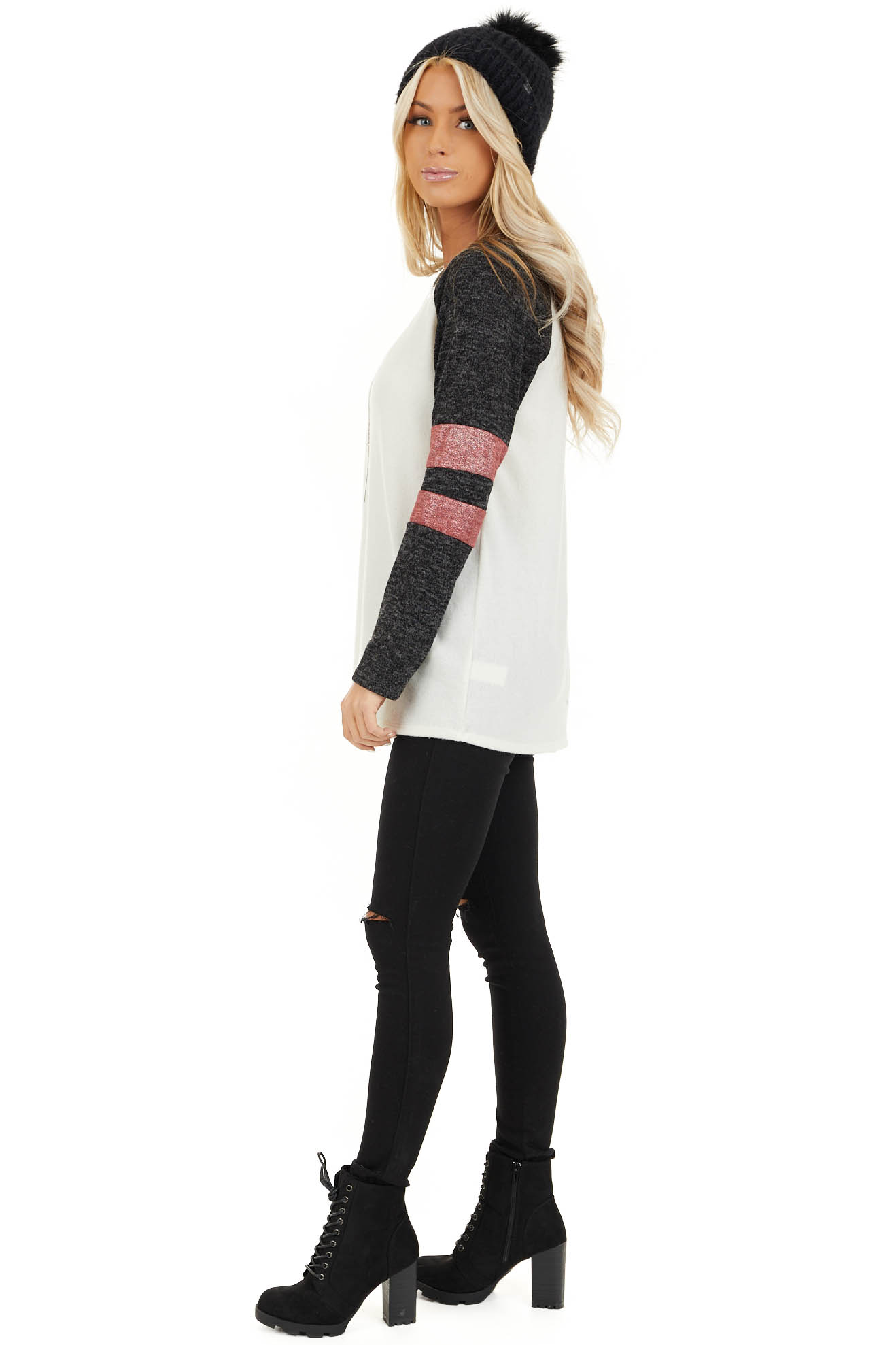 Ivory and Charcoal Long Sleeve Top with Sleeve Stripe Detail side full body