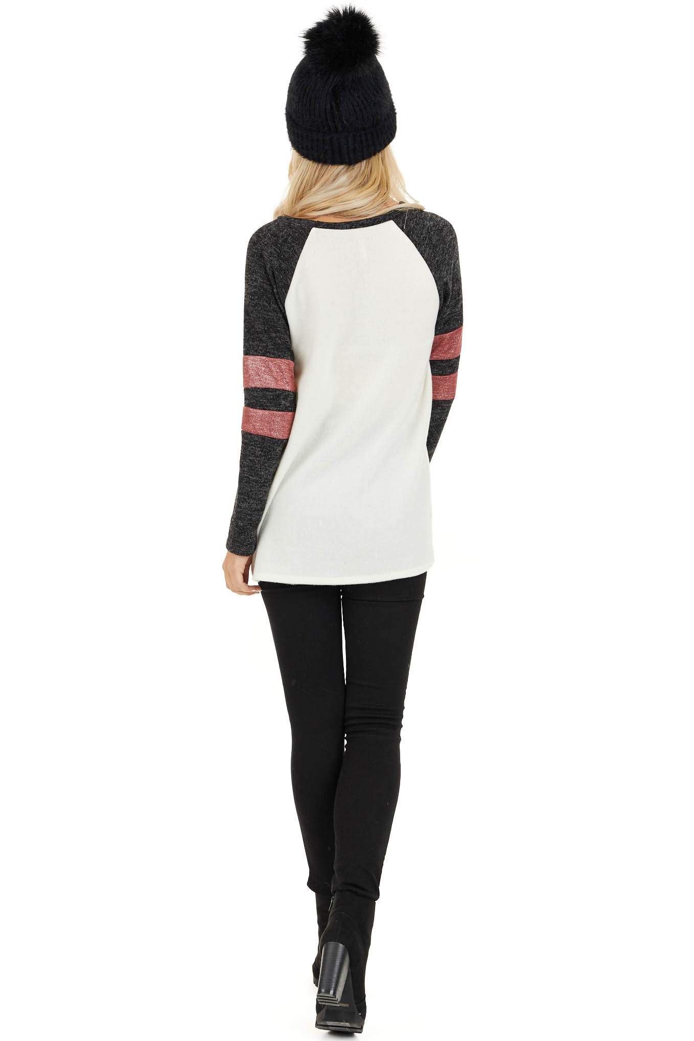 Ivory and Charcoal Long Sleeve Top with Sleeve Stripe Detail back full body