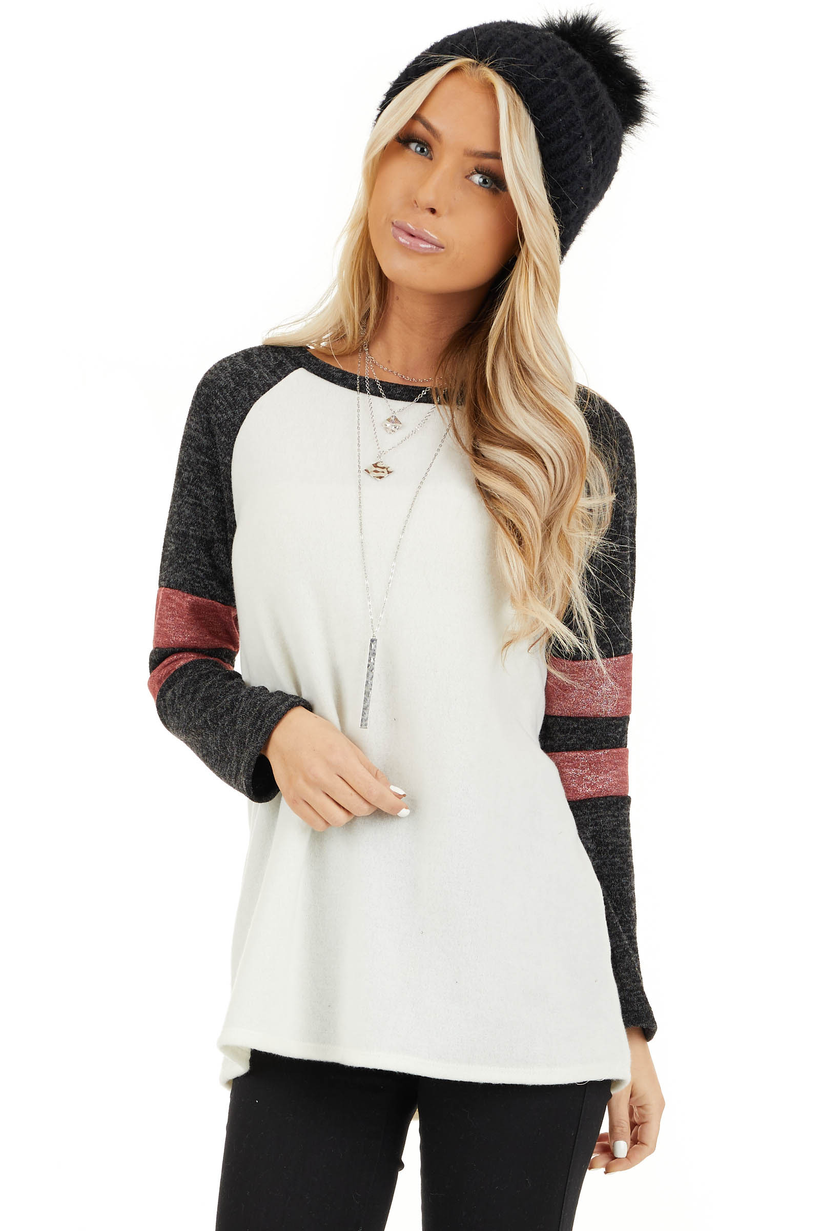 Ivory and Charcoal Long Sleeve Top with Sleeve Stripe Detail front close up